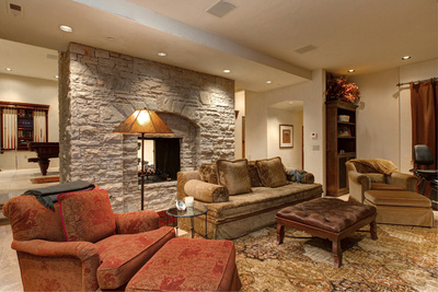 one of 5 beautiful stone fireplaces